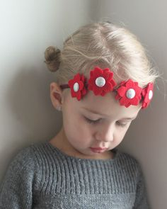 Christmas headband - Mini Poinsettia Flower Headband