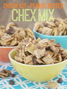Chocolate-Peanut Butter Chex Mix.  Seriously can not keep my hands off this mix...