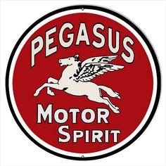 Pegasus Spirit Motor Oil Sign, Vintage Style Aluminum Metal Sign, 2 Sizes Available, USA Made Vintage Style Retro Garage Art by HomeDecorGarageArt on Etsy Man Cave Garage, Garage Art, Garage Signs, Old Gas Pumps, Vintage Gas Pumps, Cave Bar, Logos Retro, Style Retro, Vintage Style