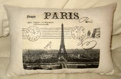 Paris Eiffel Tower Pillow Shabby Chic by frenchcountrydesigns