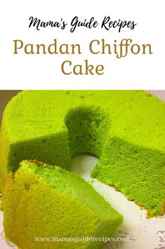 This Pandan Chiffon Cake Recipe is omg! It's so fluffy, moist and delicious. Sponge Cake Recipe Best, Cake Receipe, Sponge Cake Recipes, Pandan Chiffon Cake, Orange Chiffon Cake, Pandan Cake, Vietnamese Cake Recipe, Vietnamese Recipes, Asian Recipes