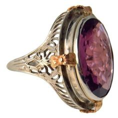 14k White Gold Edwardian Filigree Ring Huge Amethyst Stone ($345) ❤ liked on Polyvore featuring jewelry, rings, white gold amethyst ring, 14 karat gold ring, amethyst rings, filigree ring and two tone rings