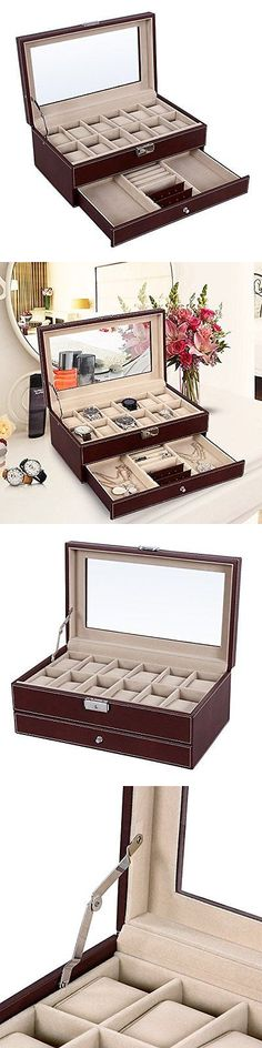 Boxes Cases and Watch Winders 173695 Brown Mens 10 Watch Box