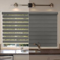 Free-Stop Cordless Zebra Dual Layer Combi Window Blind Striped Granite Semi-Sheer Gray Roller Shade Blinds For Windows Living Rooms, Zebra Blinds, Roller Shades Living Room, Shades Blinds, Sheer Roller Shades, Window Design, House Blinds, Window Coverings, Curtains With Blinds