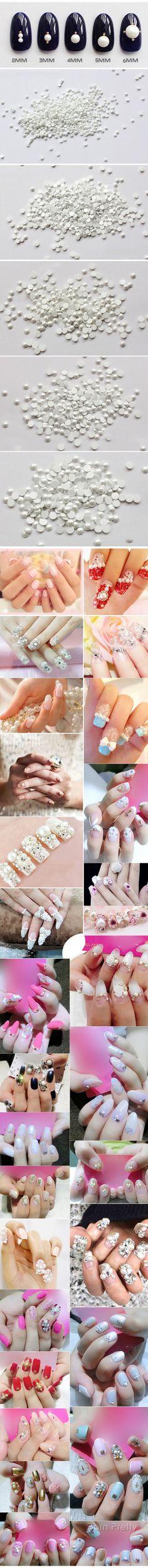 $2.41 10Pcs/set White Pearl Flat Back Nail Studs Charming 3D Nail Art Decoration - BornPrettyStore.com