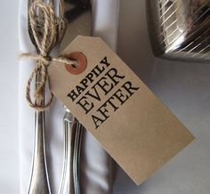 Rustic Wedding Table Decor-Wedding Place Cards-Happily Ever After-Vintage Style Luggage Tags-Set of 50-Unique Wedding Favors-Wedding Ideas