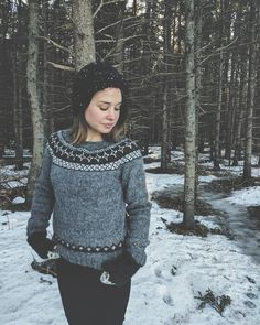 Finally made the Etsy listing for this handknit sweater I finished in January!! It's made from 100 per cent Icelandic wool and features my original yoke design in hazel Heather 🐺 it's listed along with all new fingerless mitts in the shop 💙❄️ (if I look in pain it's because it was minus 20 C out there this morning❄️) Also wrote a blog post about my Etsy listing process at finfolkandoak.wordpress.com. Thank you to everyone for positive feedback about my blog, it lifts my spirits 💙💙…