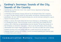Review of Eardrops by Speech Language Therapist in 'Communication Matters' Journal. downloads, CDs and more information at www.eardrops.co.nz