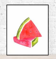 Originele meloen aquarel-melon painting-fruit art-kitchen