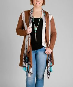 Look what I found on #zulily! Mocha & Turquoise Floral Open Cardigan - Plus #zulilyfinds