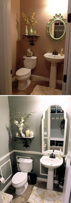 Want a half bathroom that will impress your guests when entertaining? Update you. - Want a half bathroom that will impress your guests when entertaining? Update your bathroom decor in no time with these affordable, cute half bathroom ideas. Diy Bathroom Remodel, Bathroom Renovations, Home Remodeling, Bathroom Makeovers, Half Bathroom Decor, Bathroom Ideas, Bathroom Small, Budget Bathroom, Modern Bathroom