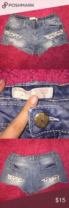 No Boundaries Distressed Cut Off Jean Shorts Super cute No Boundaries Distressed Cut Off Jean Shorts With Crochet Around The Pockets! Waist Measurement 14in. Inseam 2in. Rise 7in. Made of 99% Cotton 1% Spandex. In perfect condition only worn a couple of times! No Boundaries Shorts Jean Shorts