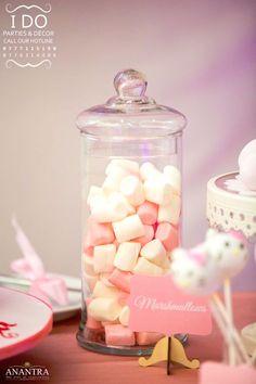 Pink & white marshmallows from a Ruffled Hello Kitty Birthday Party on Kara's Party Ideas | KarasPartyIdeas.com (23)