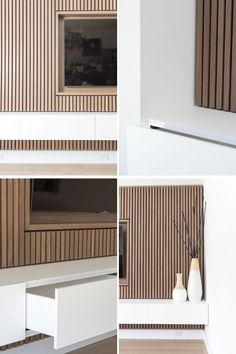 Design Detail – A Wood Slat Accent Wall Surrounds The TV In This Living Room This modern living room features a wood slat accent wall that surrounds the TV and provides a row of white storage cabinets. Wood Slat Wall, Wood Panel Walls, Wood Slats, Tv Walls, Wood Accent Walls, Tv Wall Panel, Wall Tv, Accent Walls In Living Room, Design Living Room