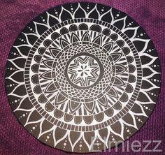 Mandala white on black canvas. Sakura Pentouch