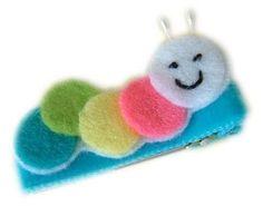 Caterpillar HAIR CLIP - cute and colorful - FELT Hair clippies for girls - hair bow hairbow clippie