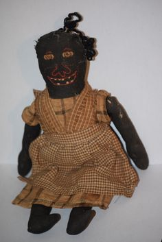 Old Doll Black Cloth Rag Folk Art Unusual