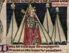 Roman de toute chevalerie, par Eustache ou Thomas de Kent. 1301 Furniture Box, Camping Furniture, Canopy Tent, Canopies, Bell Tent, Medieval Manuscript, 12th Century, Renaissance, Historian