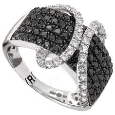14k White Gold 1.32ctw Black & White Diamond Band Ring rings with black and white diamonds