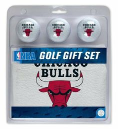 """NBA Chicago Bulls Gift Box by WinCraft. $11.94. Contains Three Regulation Size Team Logo Golf Balls and White Sport Towel imprinted with Team Logo; Sport Towel Measures 15"""" x 25"""" and Features Sturdy Brass Grommet and Hook; Sport Towel is 100% Cotton. Delight your favorite golfer with this McArthur Sports Chicago Bulls 3 ball golf gift set. It includes 3 regulation golf balls and a sports towel, all adorned with the team logo.. Save 37%!"""