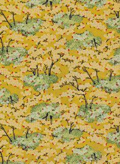 Gold Yellow Forest Japanese Yuzen Chiyogami Washi