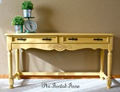 Console Table - A Design Change Plus Five Finish Options - Addicted 2 Decorating® Yellow Painted Furniture, Painted Sofa, Painted Benches, Yellow Table, Yellow Sofa, Console Table, Diy Furniture Tutorials, Entrance Table, Repurposed Furniture