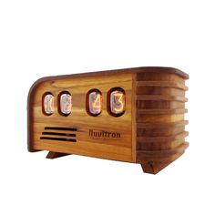 Buy Nuvitron Vintage Nixie Tube Clock - Art Deco Design with Nixie Tubes - Handcrafted wooden enclosure - Unique gifts for men who have everything - Current Model 2018 includes alarm function, LEDs Art Deco Desk, Art Deco Bar, Clock Art, Desk Clock, Nixie Tube, Apollo Box, Unique Clocks, Wood Clocks, Mantel Clocks
