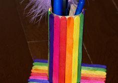 Manualidades para Niños 2/ portalapices con palos de colores