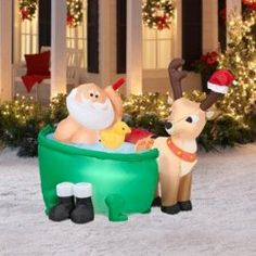 tall x long airblown santa in bathtub christmas inflatable