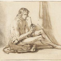 Zittende naakte man met fluit, Cornelis van Noorde, after Samuel van Hoogstraten, Rembrandt Harmensz. van Rijn, 1765 - Rijksmuseum