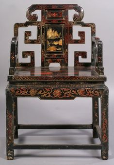 Chinese Carved Chair   435: ANTIQUE CHINESE CARVED CHAIR OPEN ARMS : Lot 435