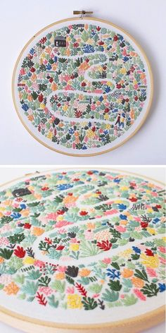 Needlework hand embroidery house with flowers garden path design idea