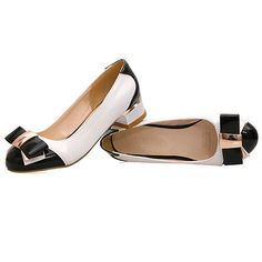 Preppy Style Black Paned Mid Heels with Bowknot