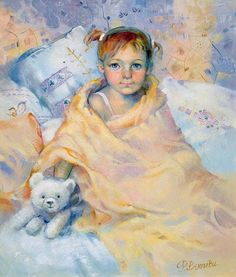 PEINTURES RIMA VJUGOVEY Art D'ours, Baby Painting, Cute Paintings, Bear Art, Russian Art, World Cultures, Art School, Impressionism, Illustration
