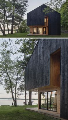 Black Charred Wood Siding Creates A Bold Look For This Lakeside Home - Elna Timby Wood Cladding Exterior, Larch Cladding, House Cladding, Wood Facade, House Siding, Wood Siding, Wood House Design, New Modern House, Haus Am See