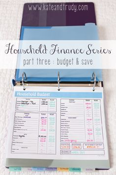 Kate & Trudy   www.kateandtrudy.com   Household Finance Series - Part 3 Budgeting // gone are the days of bounced checks and missed bills. Get your household finance binder created with this series. There's a lesson on setting up your binder and establishing the bill pay process!