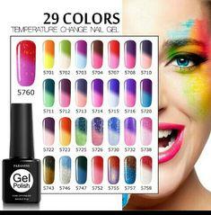Chameleon Nails, Chameleon Color, Uv Gel Nails, Gel Nail Art, Nail Polish Colors, Gel Nail Polish, Lampe Uv, Collor, Soak Off Gel