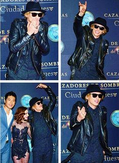 Jamie Campbell Bower + Godfrey Gao & Lily Collins at The Mortal Instruments: City of Bones premiere in Mexico. August 27th.