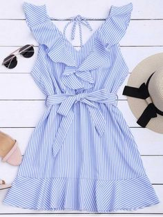 Ruffle Hem Striped Dress with Belt-Dress-SheSimplyShops Cute Summer Outfits, Girly Outfits, Skirt Outfits, Pretty Outfits, Cute Outfits, Fashion Outfits, Spring Outfits, Trendy Fashion, Belted Dress