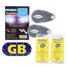 Eurolites Headlamp Adaptors + 2 French Breathalysers + Magnetic Euro Plate Good…