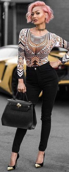 #summer #fresh #trends | Black + yellow + Yass Pink Hair