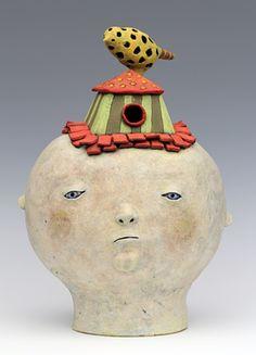 clay ceramic sculpture animal bird birdhouse by sara swink