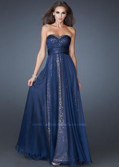 La Femme 18869 Navy Evening Gown