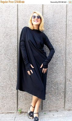 SALE 15% OFF Black Maxi Dress Asymmetric Plus Size Black
