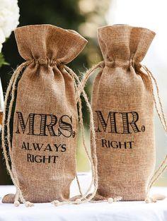 'Mr. & Mrs.' Burlap Wine Bag Set