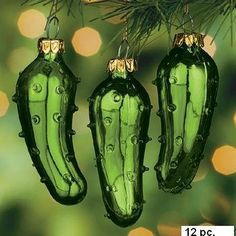 Shiny frosted christmas pickle christmas ornament (with story ...
