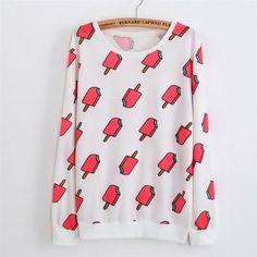 Women's Print Sweatshirt dog/watermelon/ice cream
