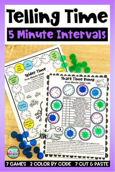 These telling time activities are for telling time with 5 minute intervals. There are all the fun things you need to make your kiddos masters of telling time - games, color by code and cut and paste. Telling Time Games, Telling Time Activities, Math Activities, Clock Spider, Adventure Time Games, Cut And Paste Worksheets, Math Board Games, Minute Game, Homeschool Math