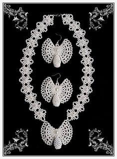 Серьги-бабочки и ожерелье с кулоном (Олонецкие мотивы) | biser.info - всё о бисере и бисерном творчестве