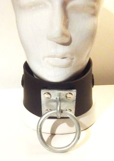 Black Fetish collar with Steel mount and loop